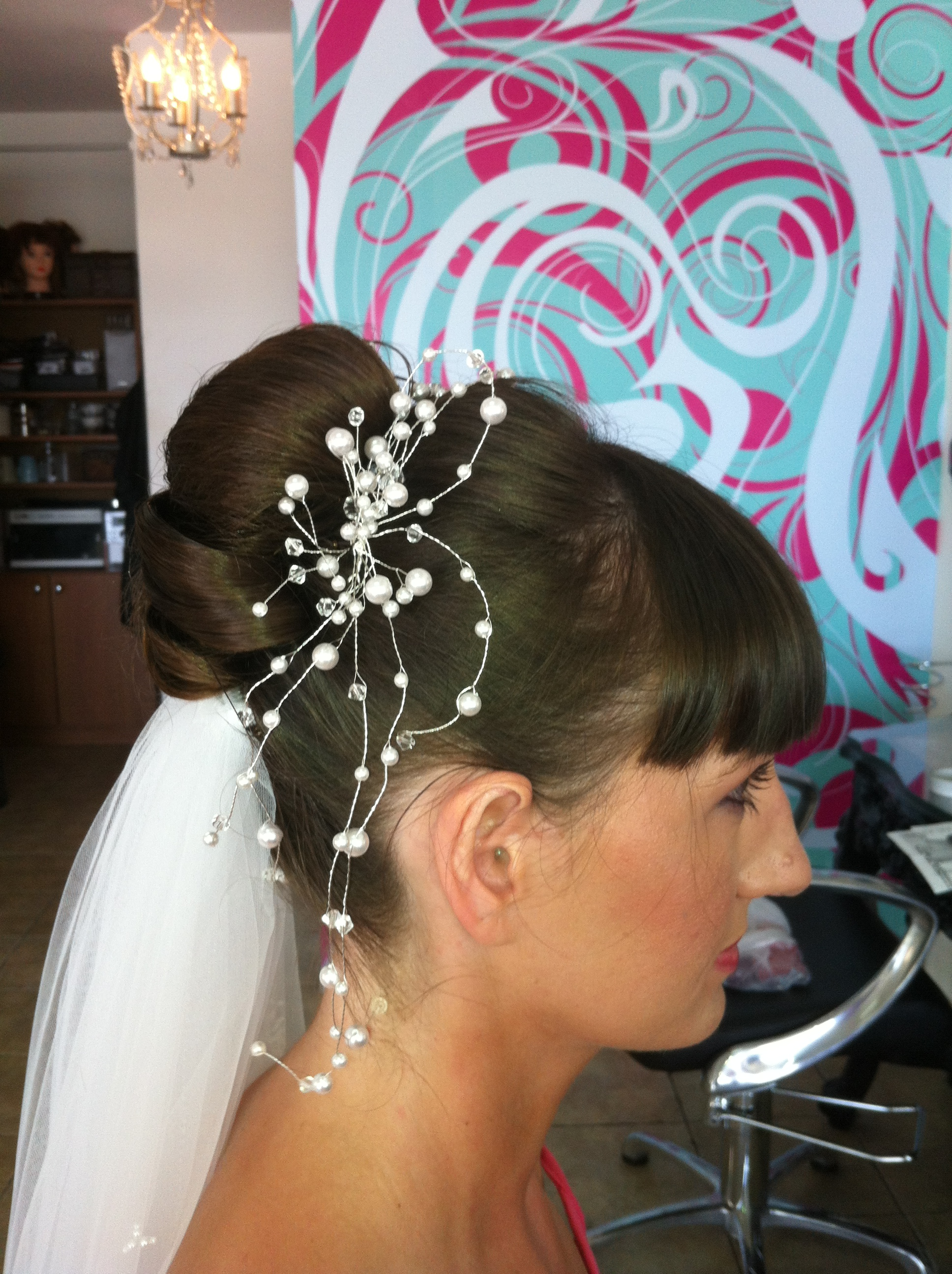 Side View of Bun Up Style with Veil Fitted