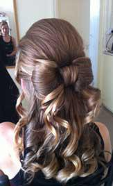 Back View of Bow Half Up Style